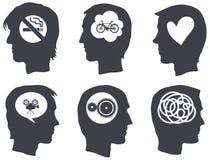Sei profili capi con i simboli di idea Immagine Stock