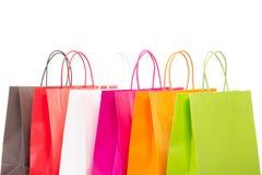 Sei sacchetti della spesa colourful Fotografie Stock