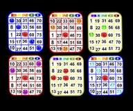 Sei schede di Bingo Fotografie Stock
