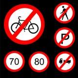 Sei segnali stradali proibitivi rotondi hanno impostato 3 Fotografia Stock