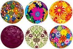 Sei sfere floreali per i vostri disegni royalty illustrazione gratis