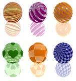 Sei sfere variopinte di vetro 3d Fotografia Stock