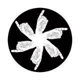 Sei simboli astratti indicanti delle mani, speci in bianco e nero di vettore Immagini Stock Libere da Diritti