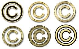 Sei simboli del copyright dell'oro Immagine Stock Libera da Diritti
