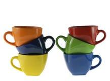 Sei tazze di colore Fotografia Stock Libera da Diritti