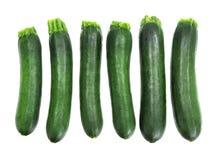 Sei zucchini freschi Fotografie Stock Libere da Diritti