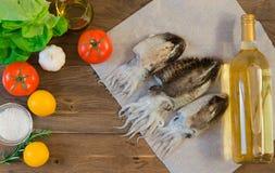 Seiches fraîches avec des légumes Photographie stock libre de droits