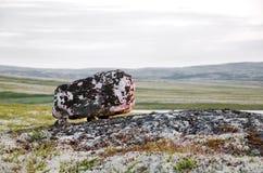 Seid in the Arctic Circle. Sami sacred stone summer tundra polar region Stock Photos