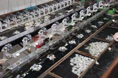Seidenraupe-Kokons, Silk Fabrik, Suzhou China Lizenzfreie Stockbilder
