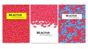 Seien Sie aktiv Stellen Sie von den Vektormotivplakaten, Abdeckungsentwurf ein Mitteilung von Gleichen, Kommentare, folgen und Na stock abbildung