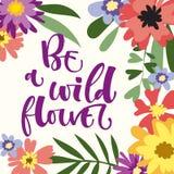 Seien Sie ein Wildflowerhandgezogenes modernes Kalligraphie-Motivationszitat im bunten Blumen- und Blattrahmen der einfachen Blüt lizenzfreie abbildung