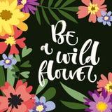 Seien Sie ein Wildflowerhandgezogenes modernes Kalligraphie-Motivationszitat im bunten Blumen- und Blattrahmen der einfachen Bl?t vektor abbildung