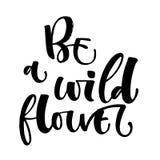 Seien Sie ein Wildflowerhandgezogenes modernes Kalligraphiemotivations-Zitatlogo vektor abbildung