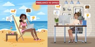 Seien Sie gegen freiberuflich tätig Dollarfischen im Büro Frau, die auf dem Wagenaufenthaltsraum sitzt lizenzfreie abbildung