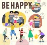 Seien Sie glückliches Tätigkeits-Freizeitbetätigungs-Konzept lizenzfreies stockbild