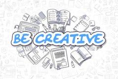Seien Sie - Karikatur-Blau-Aufschrift kreativ Die goldene Taste oder Erreichen für den Himmel zum Eigenheimbesitze stock abbildung