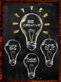 Seien Sie kreativ, denken Sie großes und unterschiedliches vektor abbildung