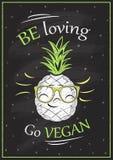Seien Sie liebevoll, gehen Sie Tafelplakat des strengen Vegetariers vektor abbildung