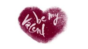 Seien Sie mein Valentine Calligraphic Lettering in einem gefrorenen Herzen stock video footage