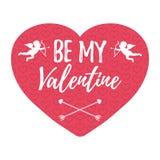 Seien Sie mein Valentine Card mit Herzen, Engel und Pfeil lokalisiertes vect Lizenzfreies Stockfoto