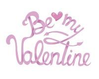 Seien Sie mein Valentine Hand Drawing Lettering-Design Vektortypographie Lizenzfreie Stockfotografie