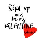 Seien Sie mein Valentine Inspirational Hand Written Font-Zitat Getrennt auf weißem Hintergrund Lustiges Motivations-Sprechen für  vektor abbildung