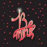 Seien Sie meine glänzender Text als Valentinstagfirmenzeichen, -ausweis und -ikone Stockfotos