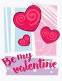 Seien Sie meine Valentinsgrußbeschriftungskarte Lizenzfreies Stockfoto