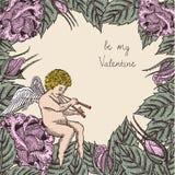 Seien Sie meine Valentinsgrußkarte mit Amor und Rosen Stockfotos