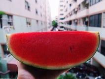 Seien Sie mit Wassermelone frisch Lizenzfreie Stockfotos