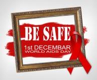SEIEN Sie SICHERES, Welt-Aids-Tag-Konzept mit rotem Band und unterstützt awarenes Lizenzfreie Stockbilder