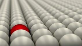 Seien Sie, Stellung aus der Menge heraus, der rote Ball unterschiedlich, der durch weiße Bälle, Konzept umgeben wird, 3D übertrag stockbild