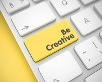 Seien Sie - Text auf dem gelben Tastatur-Knopf kreativ 3d lizenzfreie abbildung