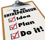 Seien Sie Unternehmer To Do List, Ideen-, dieplan es tun Lizenzfreies Stockfoto
