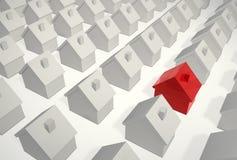 Seien Sie Unterschiedlich-Einzelnes rotes Haus lizenzfreie abbildung