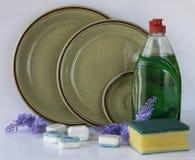 Seife für die Reinigung der Teller lizenzfreies stockfoto