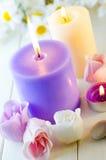 Seife für ein Bad in Form einer Rose Stockbilder