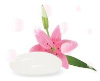 Seife mit Aroma von Lilien Stockfotos