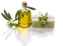 Seife mit Olivenöl Stockfoto