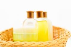 Seife, Shampoo, kosmetischer Satz der Lotion - Schönheit, Badekurort und Körperpflege angeredetes Konzept stockfoto