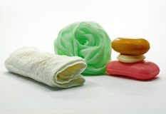 Seife und Tuch lizenzfreies stockbild