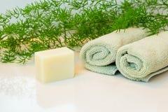 Seifen- oder shamboostange, Tücher und Grüns auf Badezimmer Countertop Lizenzfreies Stockfoto