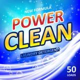 Seifenfahnen-Anzeigendesign der Energie sauberes Waschpulver oder Waschmittel-Verpackungsgestaltung Auch im corel abgehobenen Bet lizenzfreie abbildung