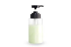 Seifenflaschenpumpe lokalisiert auf weißem Hintergrund Stockfoto