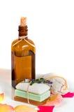 Seifenstäbe und -lotion Lizenzfreies Stockfoto
