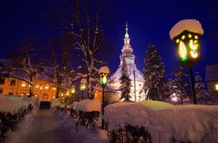 Seiffen church in winter Stock Photo