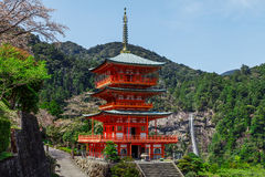 Seigantoji temple and Nachi waterfall in spring, Wagayama Japan Stock Photo