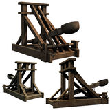 Seige Engine. 3d renders of a medieval catapult siege engine Stock Photography