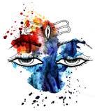 Seigneur Shiva yeux Éclaboussure d'aquarelle Mahadev Image stock