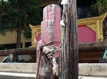 Seil gebunden an den hölzernen Pfosten Lizenzfreies Stockbild